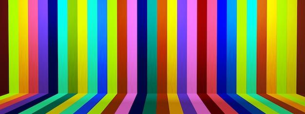 Retro wzór w paski w jasnych kolorach, scena platformy pokazuje prezentację produktów 3d render, obraz panoramiczny