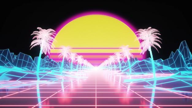 Retrowave tło ze słońcem i neonową siatką na terenie. renderowania 3d.