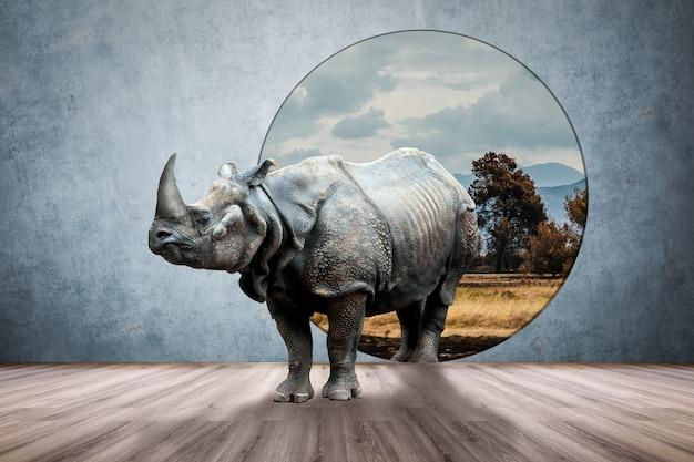 Rhino w pokoju, mieszana koncepcja kreatywna ze zdjęciami i mediami