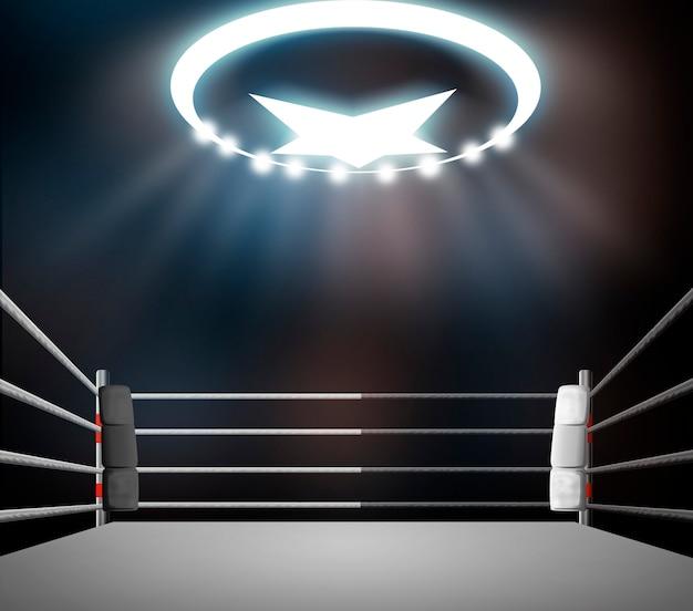 Ring bokserski z oświetleniem punktowym.