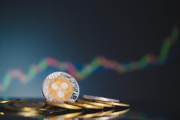 Ripple moneta symbol grupy kryptowalut xrp i wykres giełdowy świecznik w górę trend wygraj zapasy nieostre tło na komputerze biznesowym użyj technologii krypto waluty blockchain bliska monety.