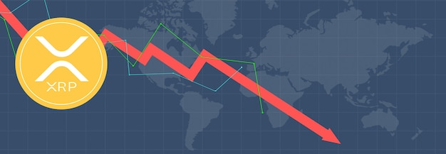 Ripple xrp na wielokolorowych metrykach i wykresach na wielokolorowym tle i mapie świata