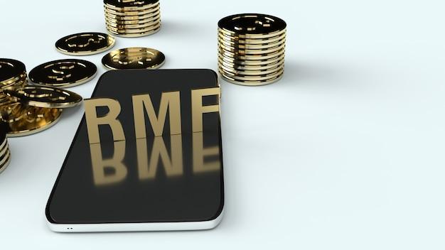 Rmf na telefonach komórkowych i złotych coons, renderowania 3d.