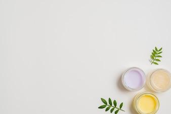 Różny typ moisturizer z liśćmi na białym tle