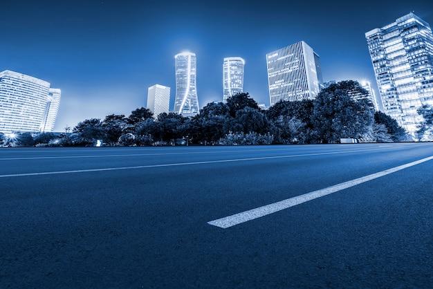 Road ground and modern modern architectural landscape
