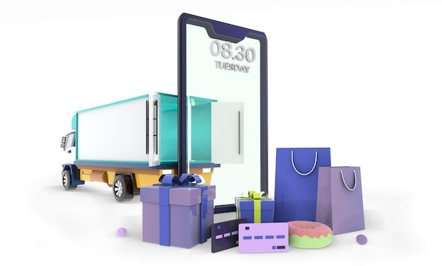 Robić zakupy online tło na strony internetowej ilustraci, odpłaca się, 3d