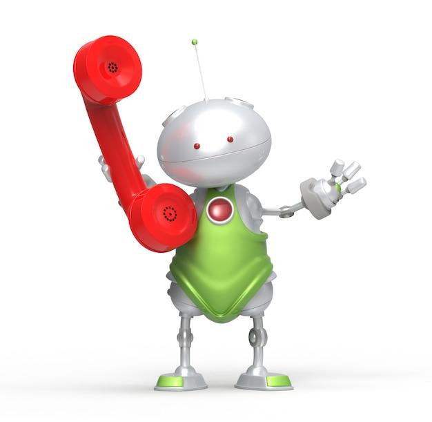 Robot 3d z rurką telefoniczną. odosobniony