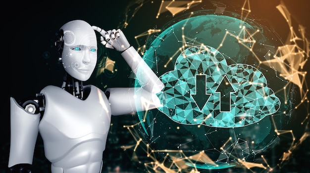 Robot ai wykorzystujący technologię przetwarzania w chmurze do przechowywania danych na serwerze online. futurystyczna koncepcja przechowywania informacji w chmurze analizowana przez proces uczenia maszynowego. ilustracja renderowania 3d.