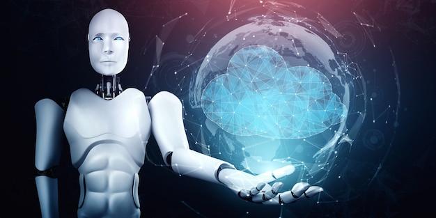 Robot ai wykorzystujący technologię przetwarzania w chmurze do przechowywania danych na serwerze online