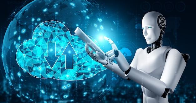 Robot ai wykorzystujący technologię przetwarzania w chmurze do przechowywania danych na serwerze online.