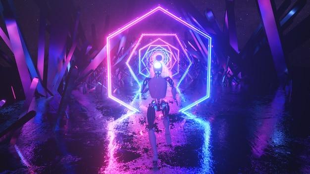 Robot biegnący w abstrakcyjnej przestrzeni kosmicznej wzdłuż neonowych kształtów geometrycznych i kryształów.