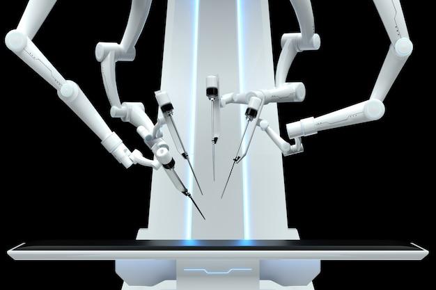 Robot chirurg, sprzęt robotyczny, manipulatory na ciemnej ścianie. technologie, przyszłość medycyny, chirurgia. 3d odpłacają się, 3d ilustracja.
