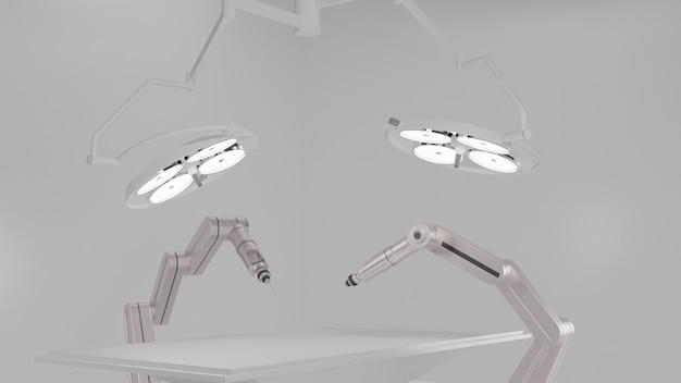 Robot chirurgiczna z oświetleniem chirurgicznym w pokoju operacyjnym renderowania 3d
