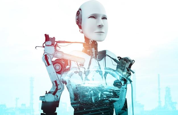 Robot cyborgów przemysłu zmechanizowanego i ramiona robotów w przyszłej fabryce