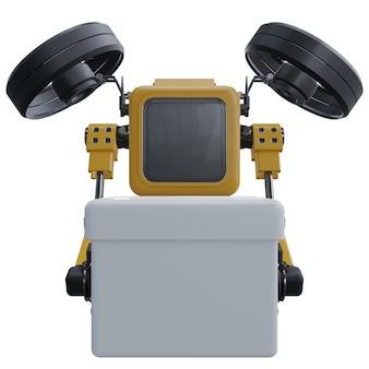 Robot dron dostarcza dostawy. transportowy dron robota. pojedynczo na białym tle.