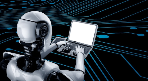 Robot humanoid używa laptopa i siedzi przy stole w przyszłym biurze