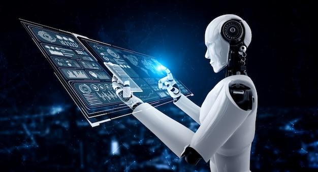 Robot humanoid używa telefonu komórkowego lub tabletu do analizy dużych zbiorów danych