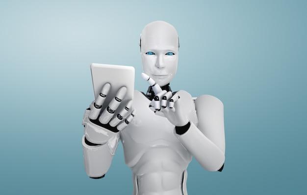 Robot humanoid używa telefonu komórkowego lub tabletu w przyszłym biurze