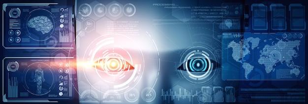 Robot humanoidalna twarz z bliska z graficzną koncepcją analizy dużych zbiorów danych