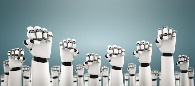 Robot humanoidalne ręce do góry, aby uczcić sukces osiągnięty dzięki sztucznej inteligencji