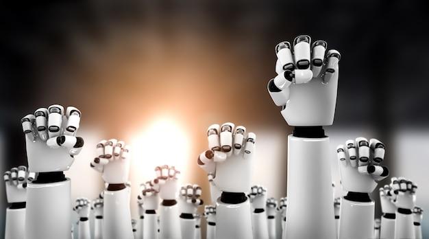 Robot humanoidalne ręce do góry, aby uczcić sukces osiągnięty dzięki wykorzystaniu sztucznej inteligencji