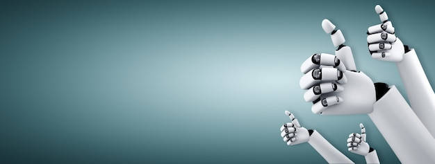 Robot humanoidalne ręce do góry, aby uczcić sukcesy osiągnięte dzięki wykorzystaniu sztucznej inteligencji