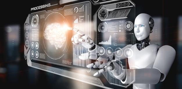 Robot humanoidalny ai dotykający ekranu wirtualnego hologramu pokazującego koncepcję dużych zbiorów danych