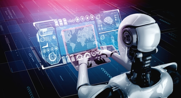 Robot humanoidalny korzysta z laptopa i siada przy stole do analizy dużych zbiorów danych