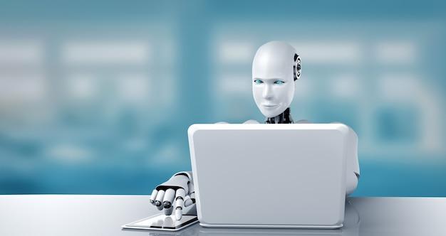 Robot humanoidalny korzysta z laptopa i siada przy stole w przyszłym biurze