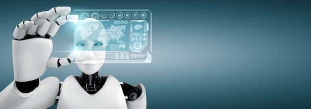 Robot humanoidalny trzyma ekran hologramu hud w koncepcji mózgu myślącego ai