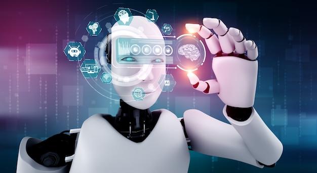Robot humanoidalny trzyma ekran hologramu hud w koncepcji