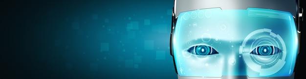 Robot humanoidalny twarz i oczy z bliska