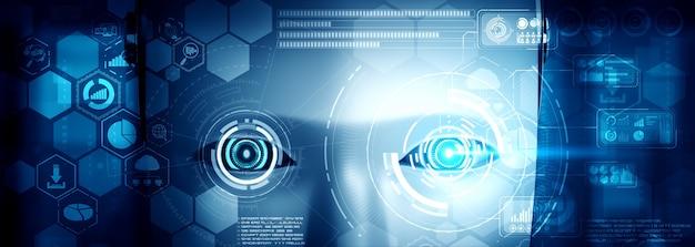 Robot humanoidalny twarz z bliska z graficzną koncepcją analizy dużych zbiorów danych