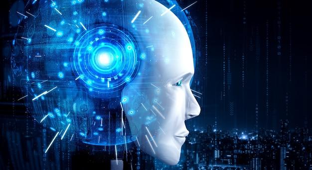 Robot humanoidalny twarz z bliska z graficzną koncepcją mózgu myślącego ai