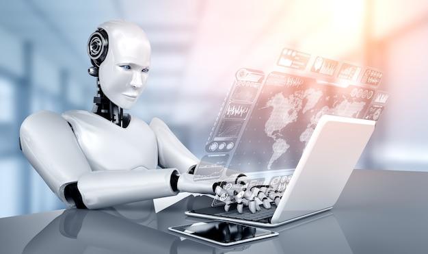 Robot humanoidalny używa laptopa i siada przy stole do analizy dużych zbiorów danych przy użyciu mózgu myślącego ai