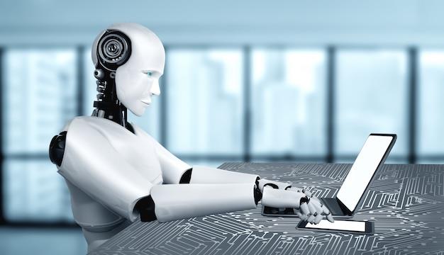 Robot humanoidalny używa laptopa i siada przy stole w przyszłym biurze, używając mózgu myślącego ai