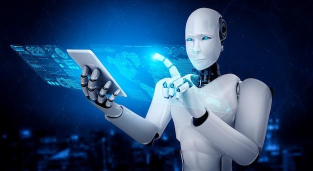 Robot humanoidalny używa telefonu komórkowego lub tabletu do analizy dużych zbiorów danych za pomocą mózgu myślącego ai