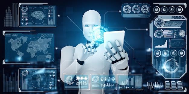 Robot humanoidalny używa telefonu komórkowego lub tabletu do analizy dużych zbiorów danych
