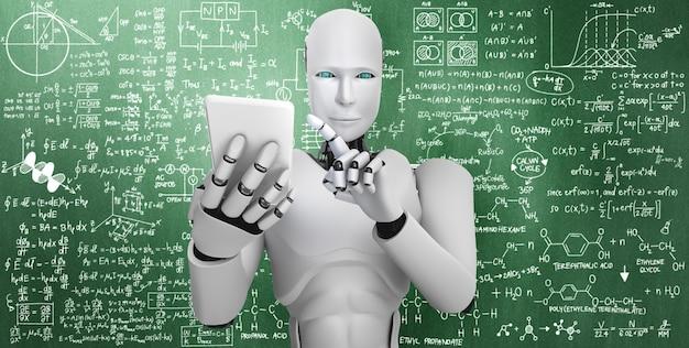 Robot humanoidalny używa telefonu komórkowego lub tabletu do nauki inżynierii