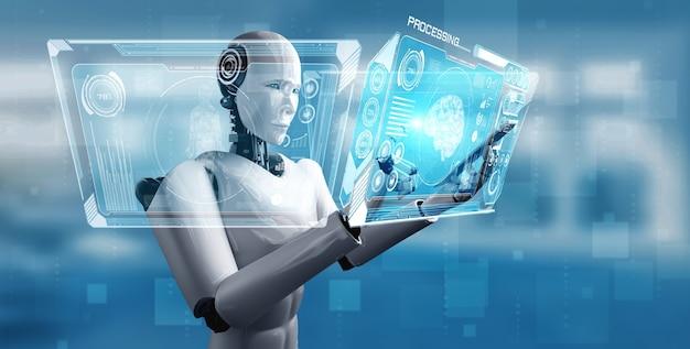 Robot humanoidalny używa telefonu komórkowego lub tabletu w koncepcji mózgu myślącego ai