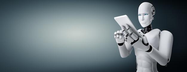 Robot humanoidalny używa telefonu komórkowego lub tabletu w przyszłym biurze