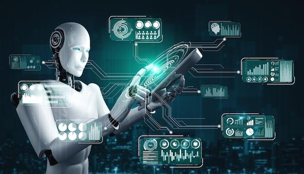 Robot humanoidalny używający tabletu do analizy dużych zbiorów danych przy użyciu mózgu myślącego ai