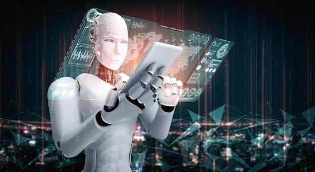 Robot humanoidalny wykorzystuje telefon komórkowy lub tablet do analizy dużych zbiorów danych