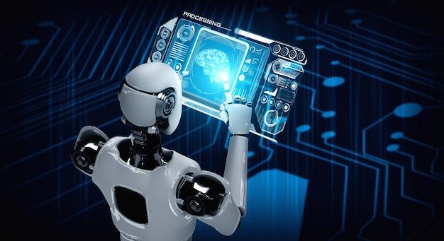 Robot humanoidalny za pomocą komputera typu tablet w koncepcji mózgu myślącego ai