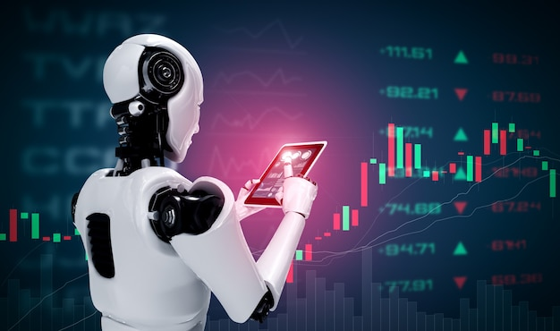 Robot humanoidalny za pomocą komputera typu tablet w koncepcji obrotu giełdowego
