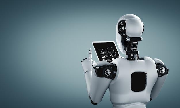 Robot humanoidalny za pomocą tabletu w przyszłym biurze