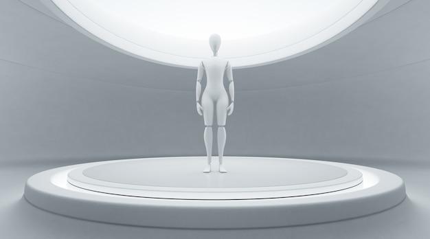Robot na scenie w przyszłej koncepcji technologii.