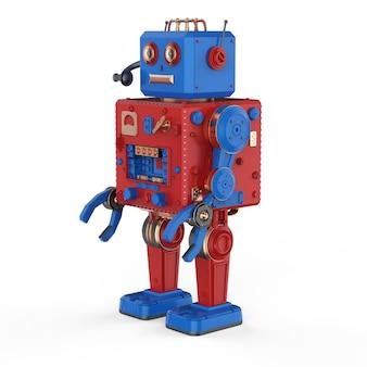 Robot renderujący 3d blaszana zabawka z zestawem słuchawkowym na białym tle