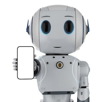 Robot renderujący 3d trzymający pusty ekran telefonu komórkowego na białym tle