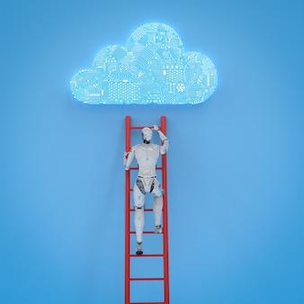 Robot renderujący 3d wspina się po drabinie, aby opracować chmurę obwodów